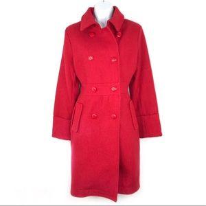 Bitten By Sarah Jessica Parker Red Wool Coat XL